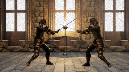 Two knights in medieval armor fight each other with swords. 3D Rendering