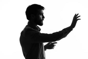 silhouette of a man in profile