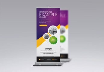 Rollup Banner Layout with Purple and Yellow Accents