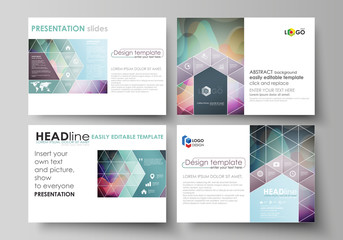 Business templates for presentation slides. Easy editable layouts in flat style, vector illustration. Bright color pattern, colorful design, overlapping shapes forming abstract beautiful background.