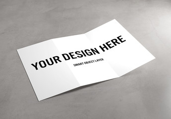 Trifold Brochure on Concrete Mockup