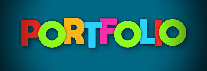 Portfolio - overlapping multicolor letters written on blue background Wall mural