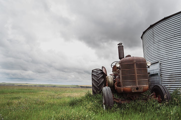 Old tractor parked amidst plants on field against cloudy sky