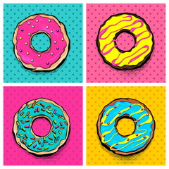 Printed kitchen splashbacks Pop Art Set doughnut sweet food, donut cartoon pop art style. Vector colored illustration halftone pattern. Vintage retro design. Collection comic book bakery glazed crumpet poster.