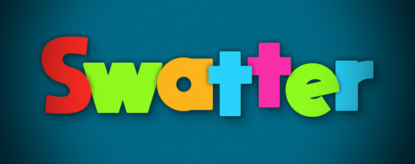 Swatter - overlapping multicolor letters written on blue background