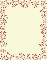 ivy vines in red border on yellow background in Christmas or nature design, pretty plants frame the border in hand drawn leaves