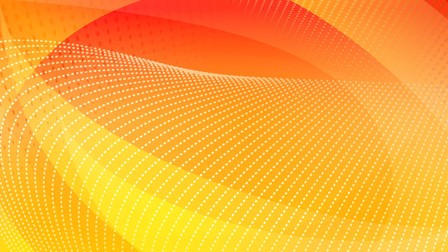 Abstract background of curved surfaces and halftone dots in yellow and orange colors