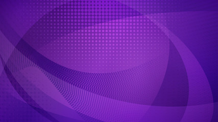 Abstract background of curved surfaces and halftone dots in purple colors Wall mural
