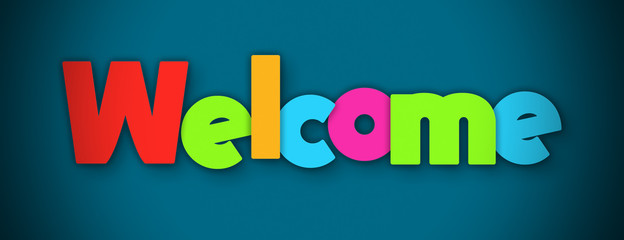 Welcome - overlapping multicolor letters written on blue background