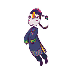 Vector Illustration of Jiangshi Chinese Hopping Vampire Ghost for Halloween on  White Background, Cute  Cartoon Character