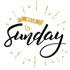 hello sunday happy lettering