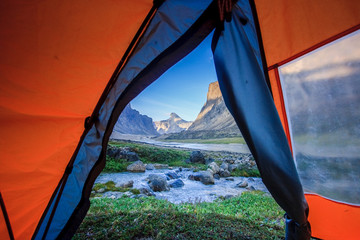 View through the tent towards Mount Thor, Baffin Island, Nunavut