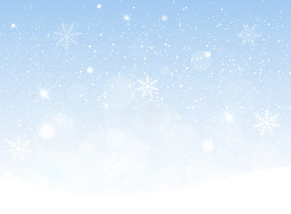Vector illustration of snowing sky, Christmas snowflakes background.