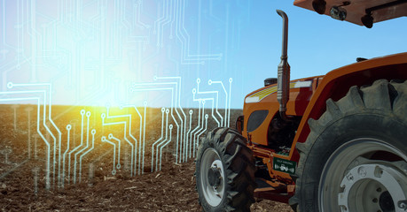 iot smart farming, agriculture in industry 4.0 technology with artificial intelligence and machine learning concept. it help to improve, categorized, specified goal, solve problem, keep goal, predict Wall mural