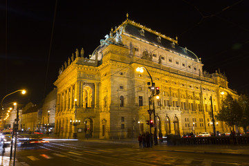 The night View on the Prague National Theater above the River Vltava, Czech Republic