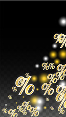 Luxury Vector Gold Percentage Sign Confetti on Transparent. Percent Sale Background. Business, Economics Print. Discount Illustration. Promotion Poster. Black Friday Banner. Special offer Template.