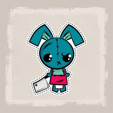 Halloween stitch bunny, rabbit zombie voodoo doll