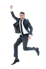 Full length portrait of an overjoyed businessman jumping