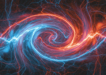 Fire and ice swirling plasma, abstract electrical background