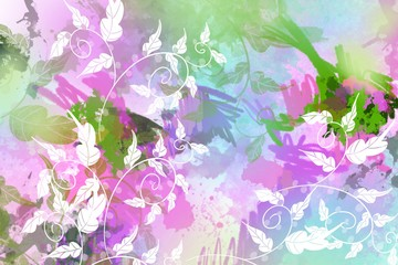 Abstract artistic painted soft blurred watercolor background with natural leaves and plant overlay for dimensional beautiful design