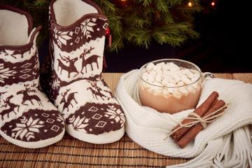 Warm slippers near Christmas fir tree.