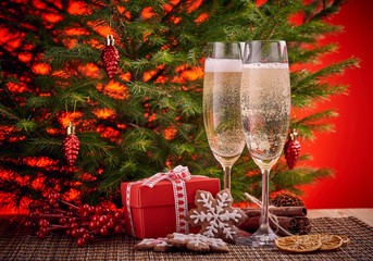 Champagne and gift. New year and Christmas.