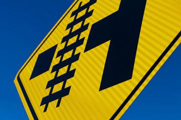 Abstract Railroad crossing sign at angle