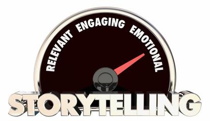 Storytelling Relevant Engaging Informational Communication Speedometer 3d Illustration