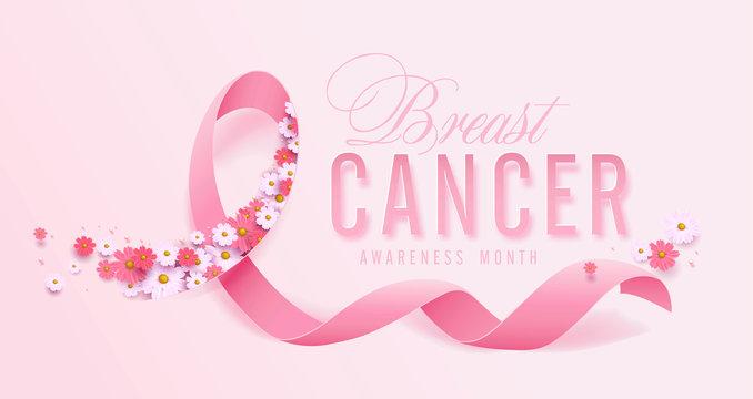 Breast cancer october awareness month pink ribbon and spring poster background,vector illustration
