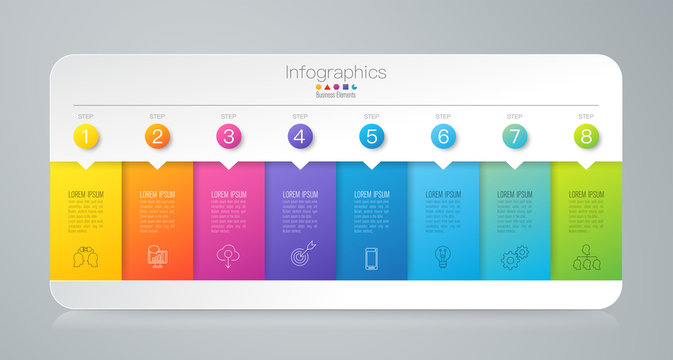 Infographics design vector and business icons with 8 options.