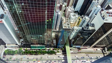 Top View of Skyscrapers in a Big City. Financial and business centers in Hong Kong.