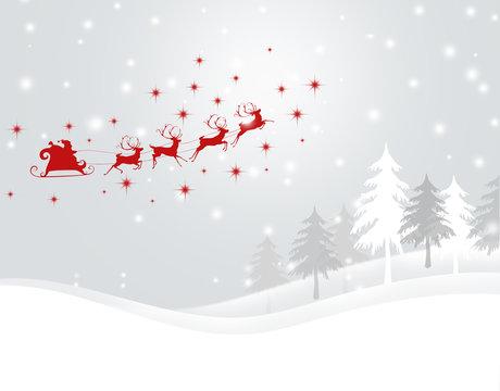 クリスマス サンタクロース 雪の結晶 クリスマスツリー クリスマス背景