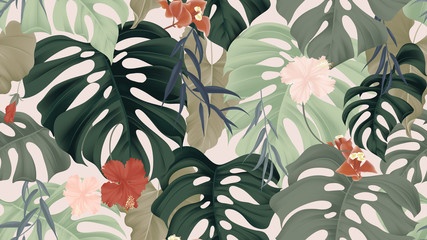 Fototapeta Floral seamless pattern, tropical plants, split-leaf Philodendron plant, hibiscus flowers, Weeping Willow leaves and Bougainvillea flowers on light pink background, pastel vintage theme obraz