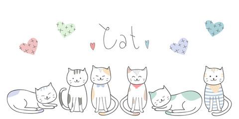 Cute adorable thin line cat kitten cartoon doodle background wallpaper banner