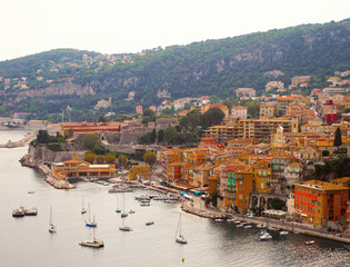 Panoramic view of French Riviera near town of Villefranche-sur-Mer, Menton, Monaco (Monte Carlo), Côte d'Azur, French Riviera, France
