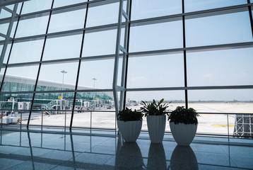 modern airport window scene