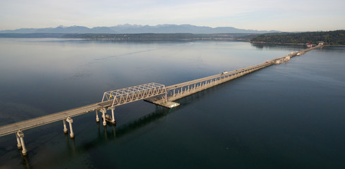 Aerial View Puget Sound Hood Canal Floating Bridge Crossing Olympic Mountains Backgound