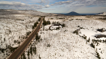 Aerial Perspective Over Highway 20 East Black Butte in the Distance