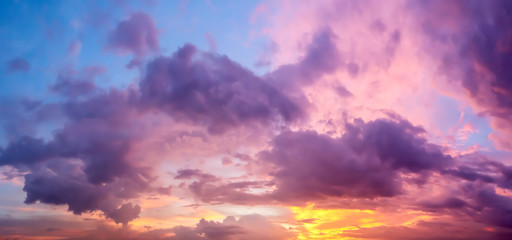 Dramatic atmosphere panorama view of artistic colorful twilight sky and clouds in tropical summer season.