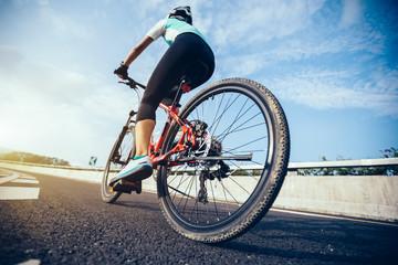Woman cyclist riding Mountain Bike on highway