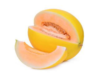 sliced yellow cantaloupe melon isolated on white background