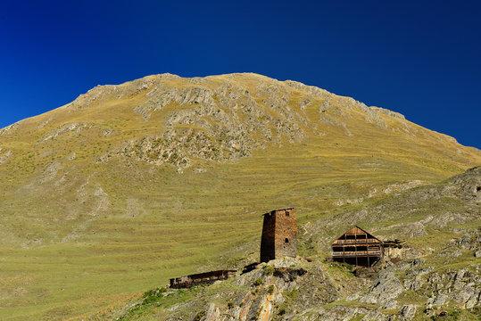 Parsma village Tusheti region, Georgia. Defensive towers on the Caucasus trekking.