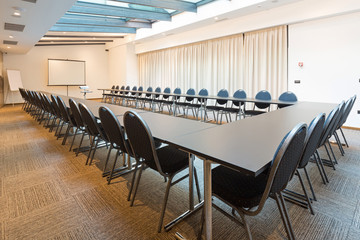 Interior of a conference room in a modern hotel
