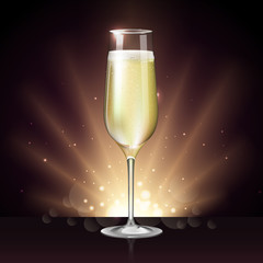 Realistic vector illustration of champagne glass on blurred holiday winter golden sparkle background