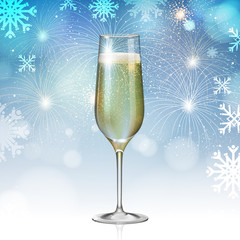 Realistic vector illustration of champagne glass on holiday blue firework background