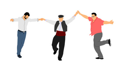 A Greek Evzone dancing group vector isolated on white background. Traditional folk dance. Dancing man vector illustration. Traditional Balkan dance kolo. Sirtaki, Syrtaki, dance. Wedding dance.