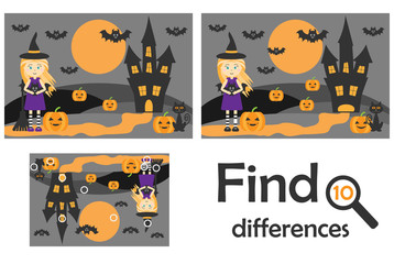 Find 10 differences, game for children, halloween picture in cartoon style, education game for kids, preschool worksheet activity, task for the development of logical thinking, vector illustration