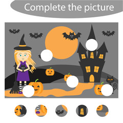 Complete the puzzle and find the missing parts of the picture, halloween,  fun education game for children, preschool worksheet activity for kids, task for the development of logical thinking, vector