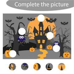 Complete the puzzle and find the missing parts of the picture, halloween  fun education game for children, preschool worksheet activity for kids, task for the development of logical thinking, vector