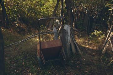 old cart in the village summer vintage
